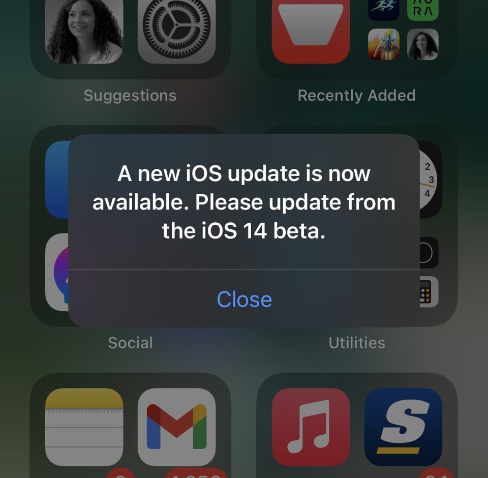 Apple's beta software program is a little buggy at the moment, requesting nonexistent upgrades.