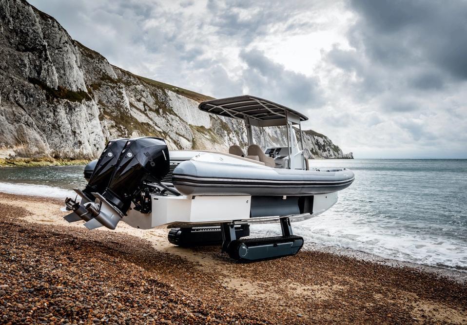 Amphibious Iguana Yachts X 100 RIB elevated on its treads