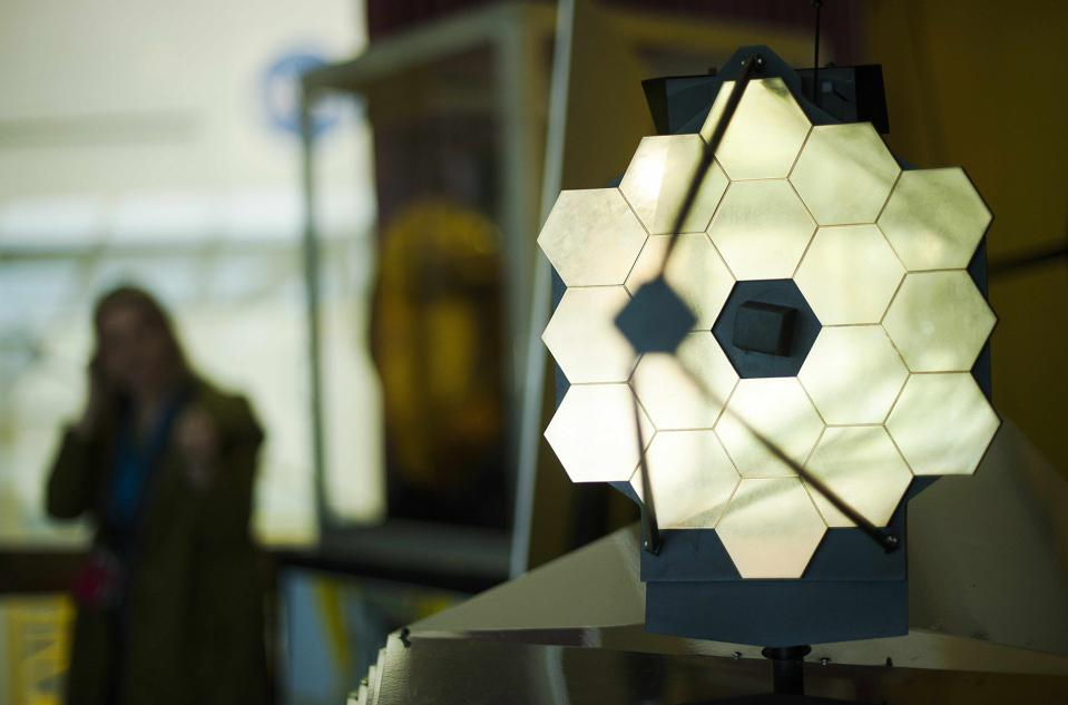 A model of NASA's James Webb Space Telescope, which will launch on October 31, 2021.
