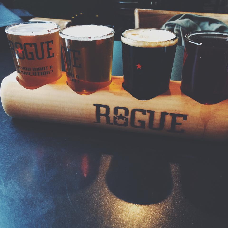 flight of four Rogue Ale beers