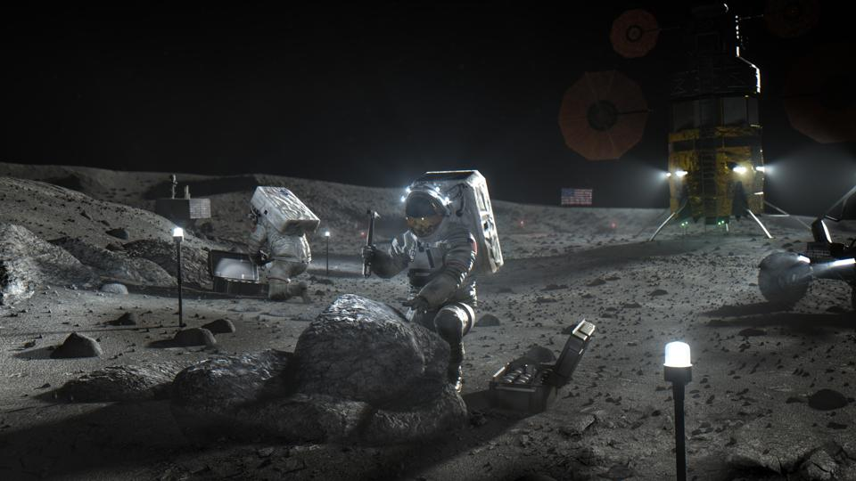 NASA astronauts on the Moon