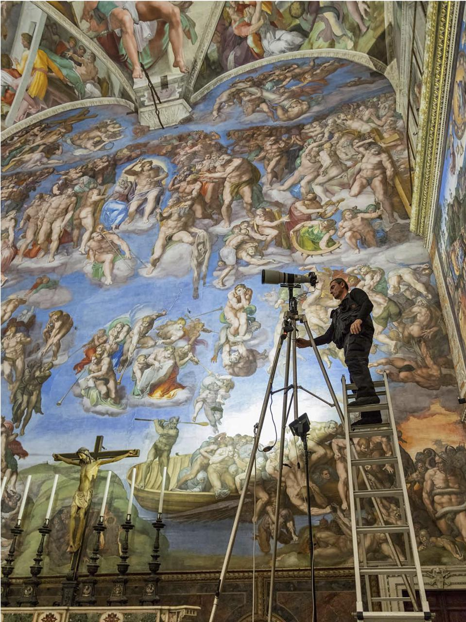 Using a 33-foot-tall scaffold that had to be assembled and dissembled nightly, the five-person photography team took over two months to capture the 270,000 individual frames that would make up the complete Sistine Chapel