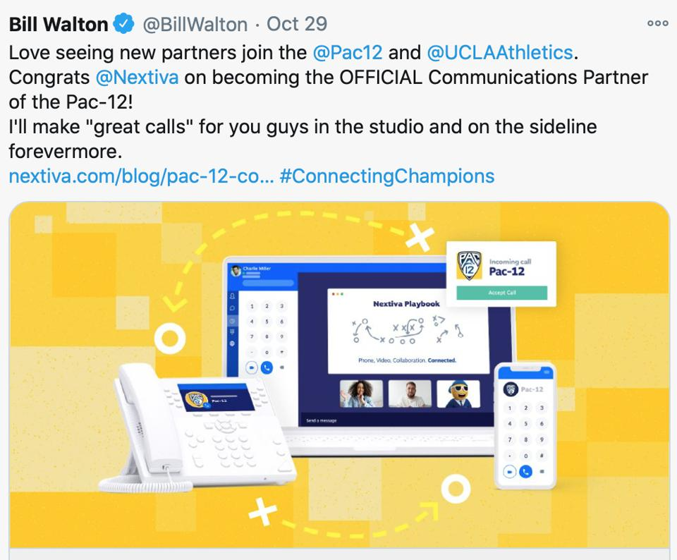 Bill Walton tweets congratulations on the Pac-12 partnership