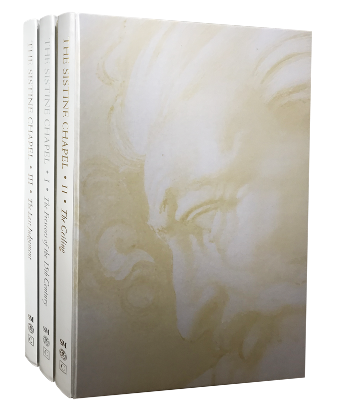 The Sistine Chapel was printed and hand-bound in Italy on Fedrigoni Symbol Tatami paper with white calf leather spines and debossing in silver, gold and platinum.