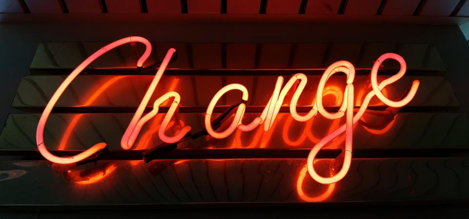 Change neon sign in Sandown Pier on the Isle of Wight (UK)