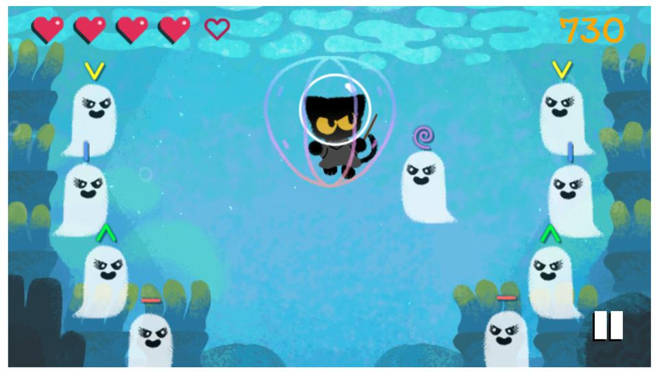 today s google doodle is a magic cat academy halloween game and it s great magic cat academy halloween game