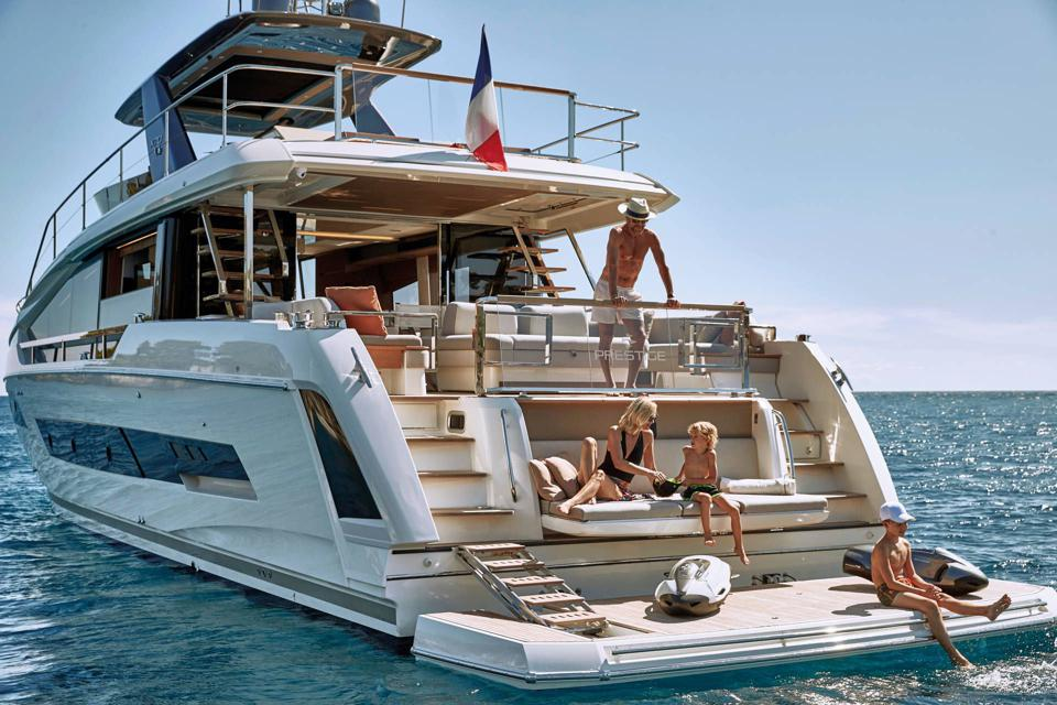 The beach club on the new Prestige X70 is very superyacht-y.