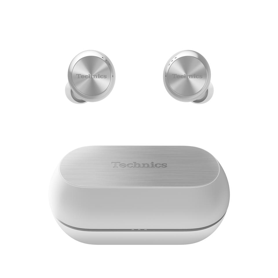 platinum noise canceling earphones and charging case from Technics