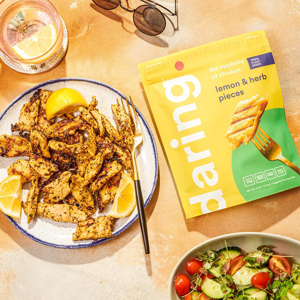 Daring's lemon & herb pieces look and taste like real chicken but are entirely plant-based