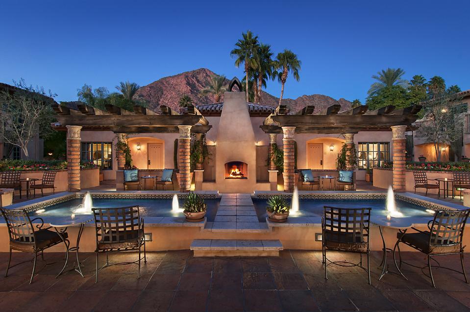 nighttime at the pool at Royal Palms resort in Phoenix, Az.