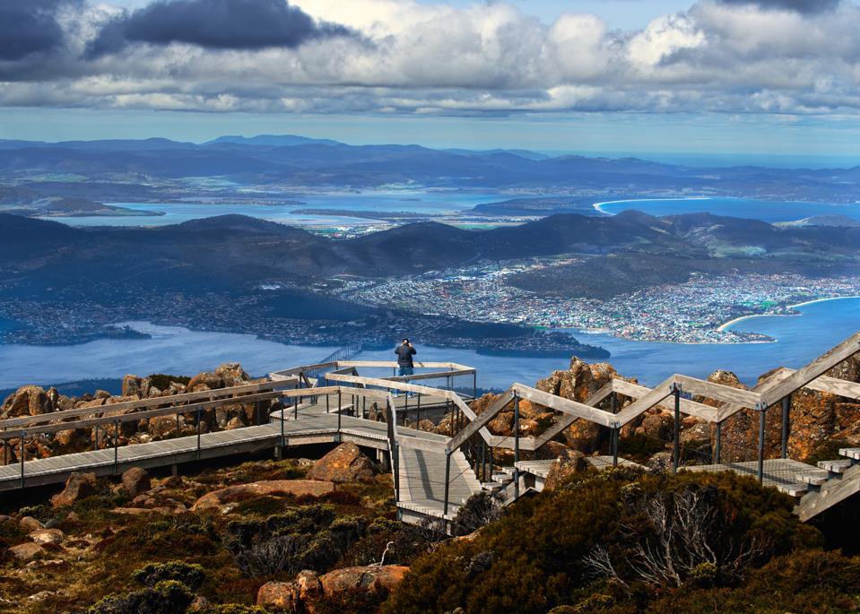 Views of Hobart from the top of Mount Wellington in Tasmania, Australia.