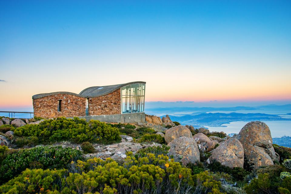 View from Mount Wellington in Hobart, Tasmania at sunset