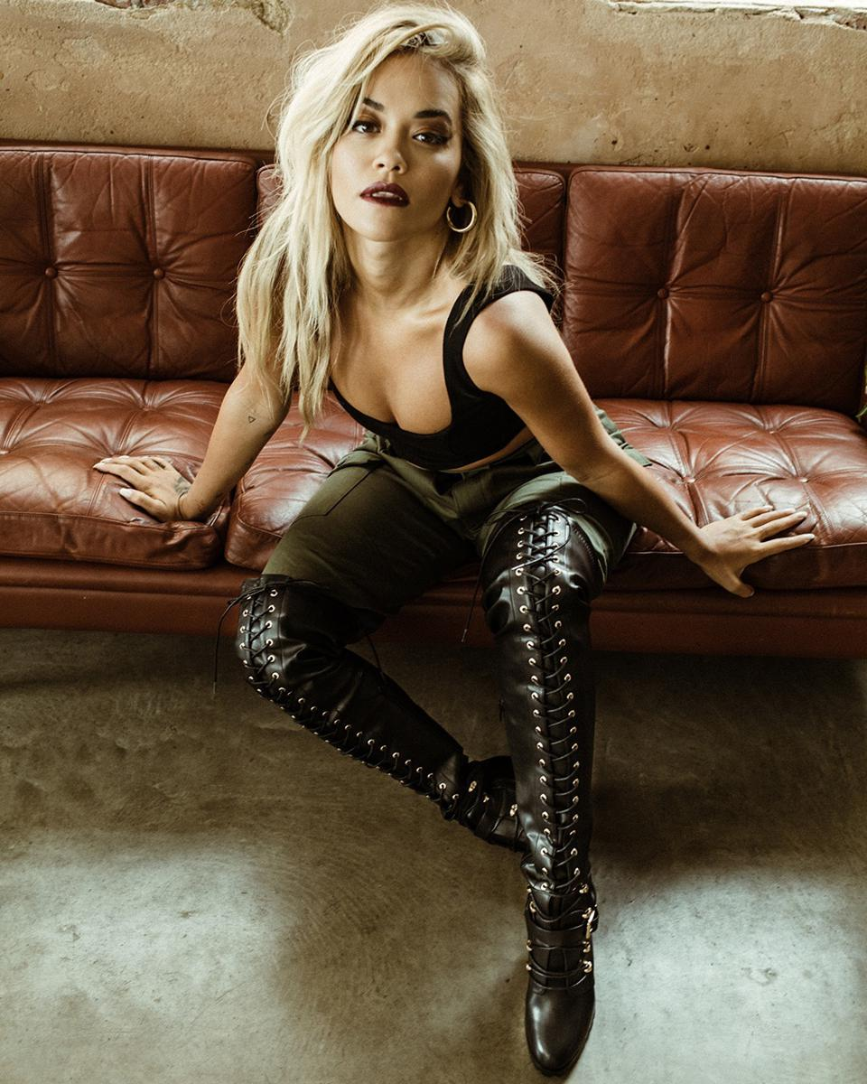 Rita Ora in black over-the-knee boots for ShoeDazzle.