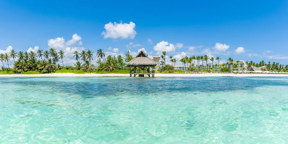 Beach hut on a tropical beach, Punta Cana Dominican Republic vacation tourism