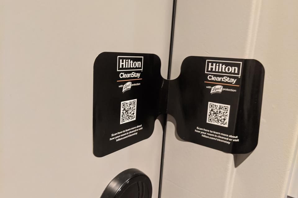 A Hilton CleanStay seal at the Canopy by Hilton Scottsdale Old Town in Scottsdale, Ariz.