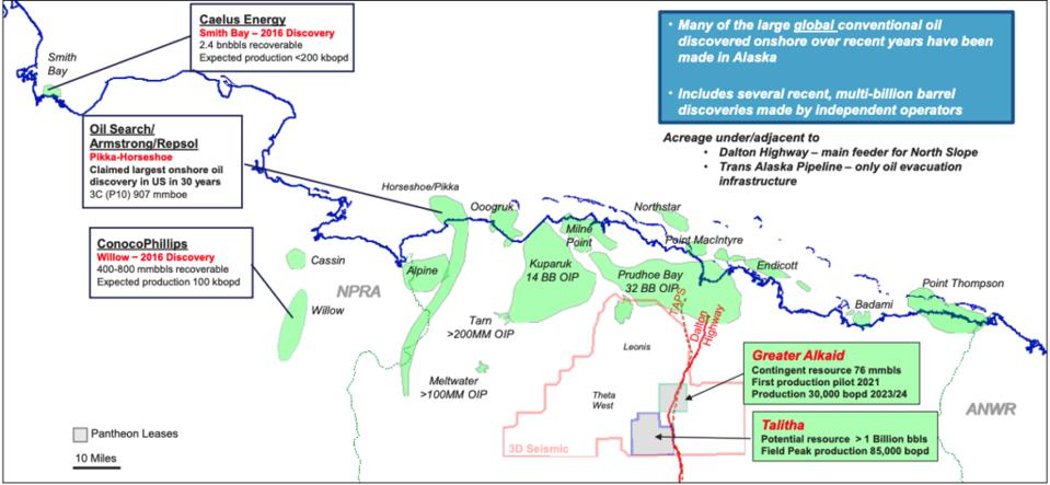 Figure 1. Alaska North Slope recent discoveries and prospects.  Source:  Pantheon Resources Plc