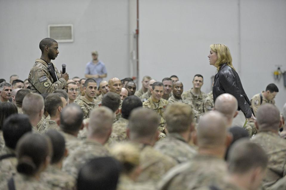 Secretary of the Air Force Deborah Lee James answers troops' questions at Bagram Airfield, Afghanistan 2014