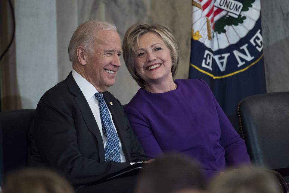 Joe Biden and HIllary Clinton onDecember 08, 2016. (Photo By Tom Williams/CQ Roll Call)