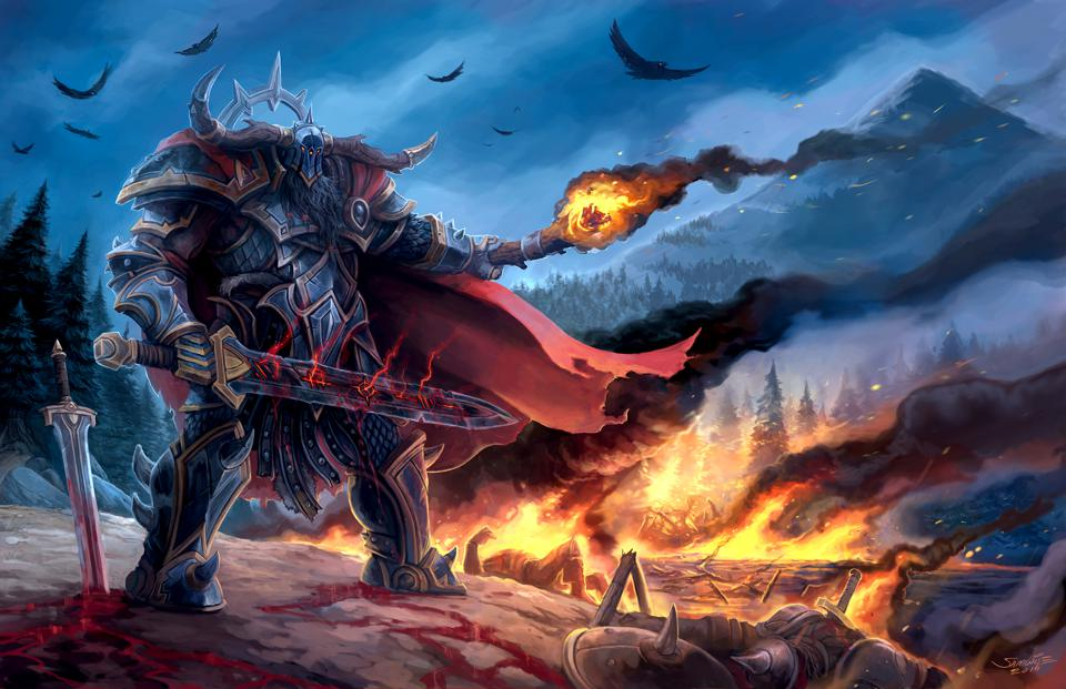 An original Samwise Didier artwork, showing the torn cloak edge that has become so iconic in World of Warcraft