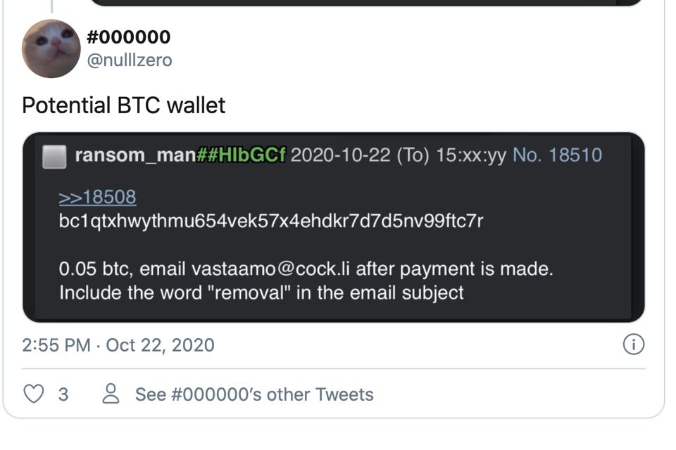 Printscreen from a cryptocurrency wallet address from Twitter