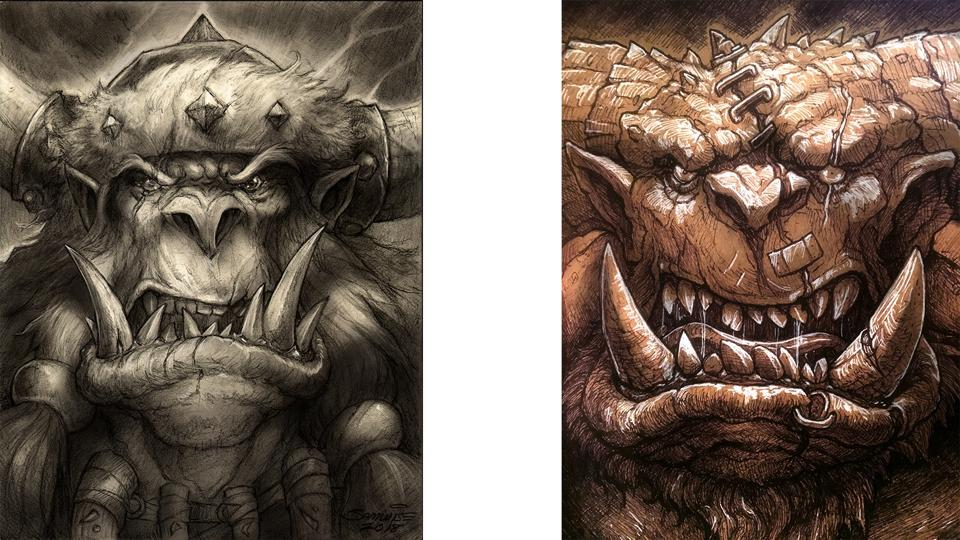 Two of Didier's imperfect characters -- at left, an iconic Orc. Right, one of Didier's trademark 'doodles.'