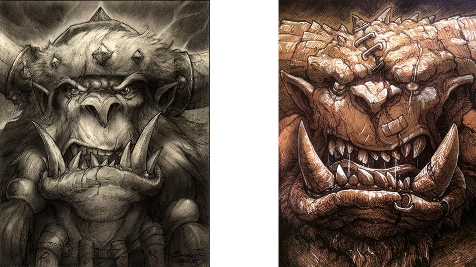 Deux des personnages imparfaits de Didier - à gauche, un orque emblématique.  À droite, l'un des «griffonnages» de Didier.