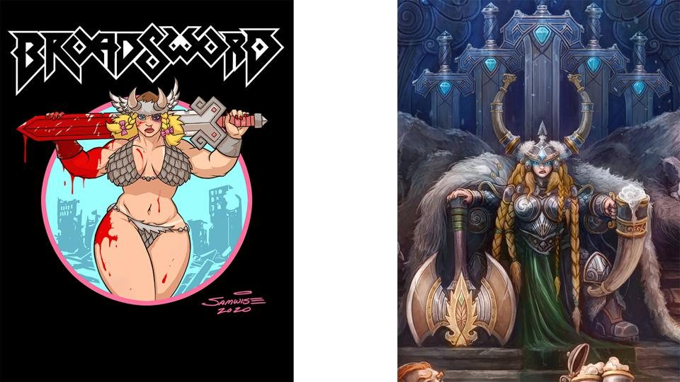 À gauche: Broadsword.  À droite: The Mountain Queen.