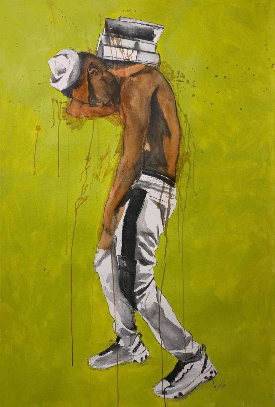 Painting of Afro-caribbean man carrying books on his back