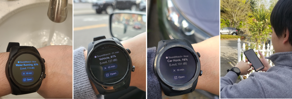 Various shots of the SoundWatch app in action recognizing sounds on a smartwatch, as well as being synced with a smartphone.