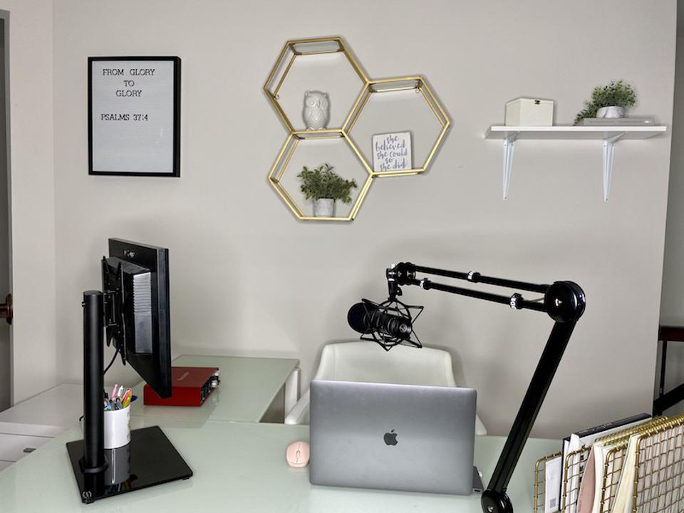 Fran Moore's podcasting space and home office