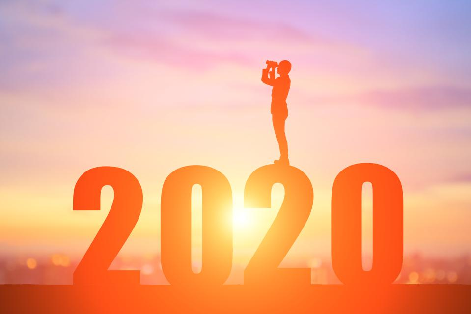 silhouette businessman with 2020