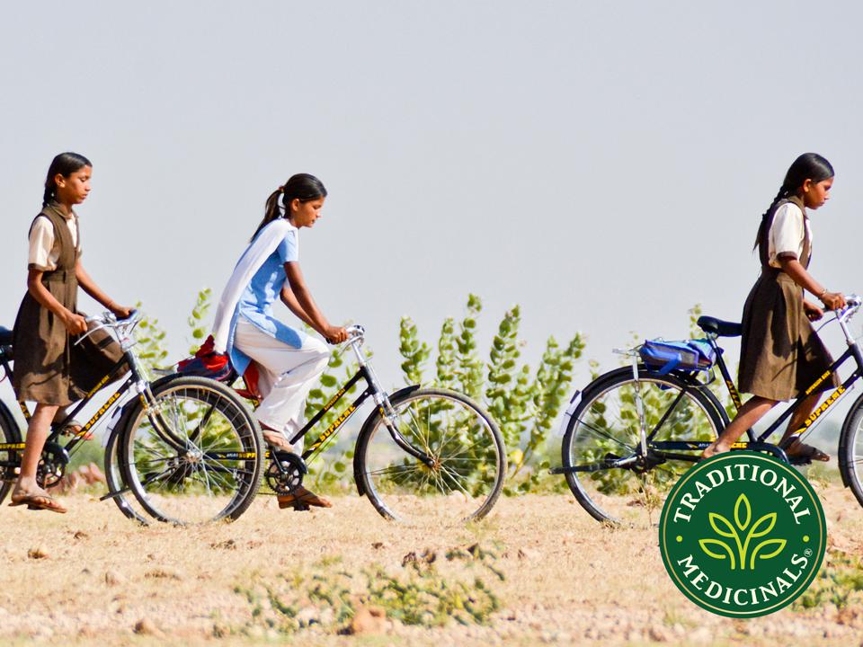 Students bike to a school owned by Traditional Medicinals in India.