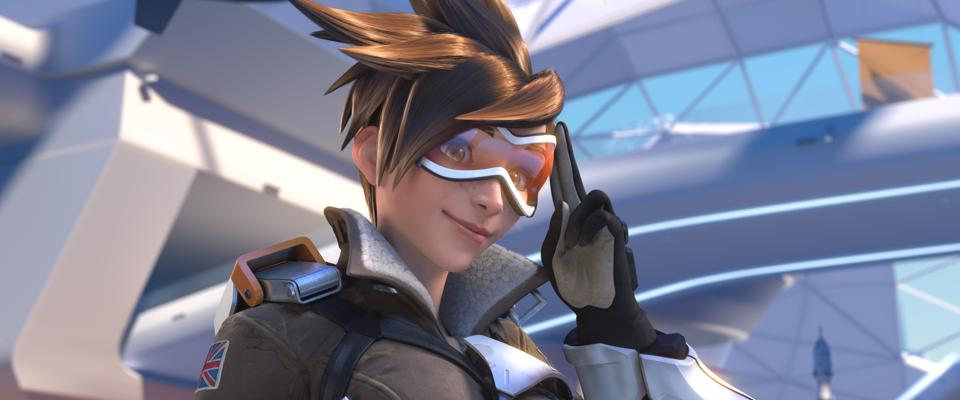 Overwatch's Tracer, from the original launch cinematic.