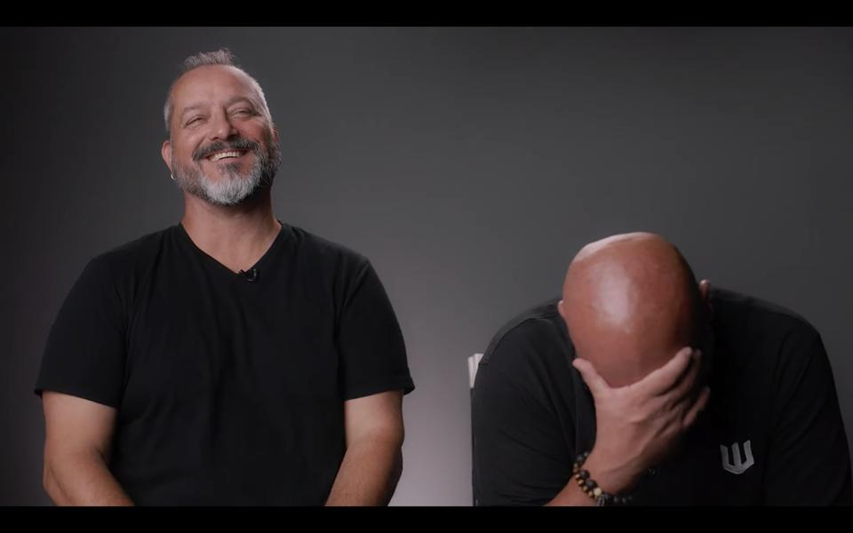 Metzen and Gilmartin pause for an equally hilarious thought.