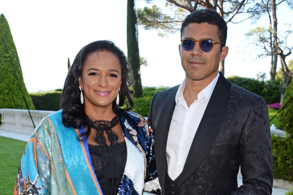 Isabel dos Santos and her husband Sindika Dokolo at amfAR Gala Cannes 2018