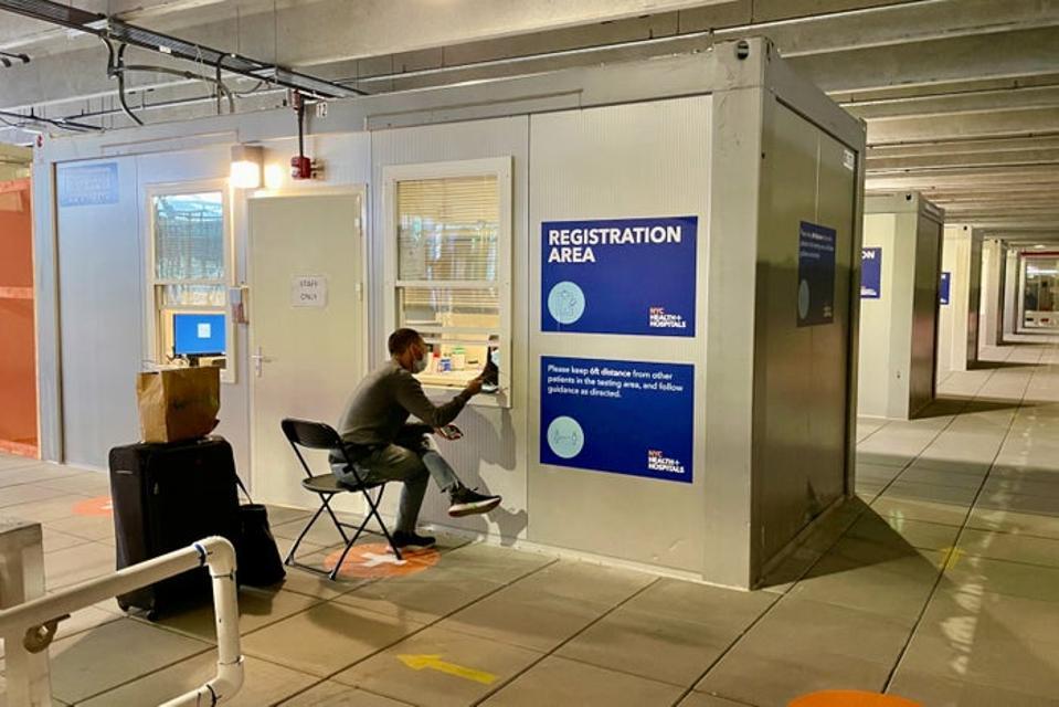 LaGuardia COVID-19 testing center in Terminal B.