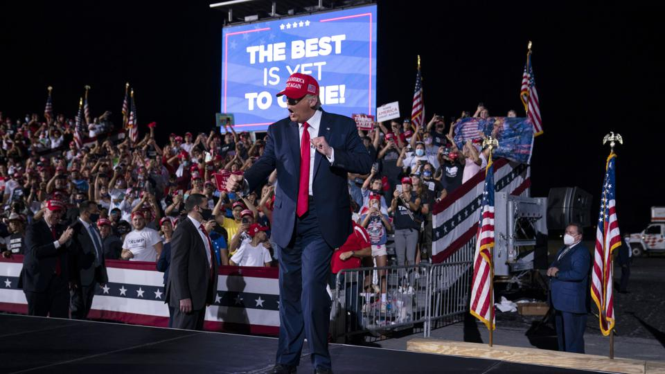 Election 2020: Trump MAGA rally in pivotal battleground electoral swing state of Florida.
