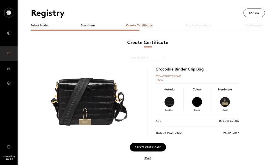 A LUKSO digital certificate for a black crocodile skin handbag with gold hardware.