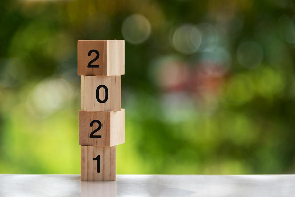2021 Numbers on Wood Blocks New Year Concept