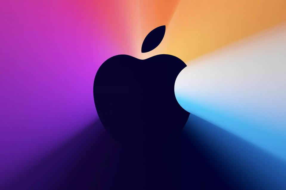 An Apple logo on a colourful background