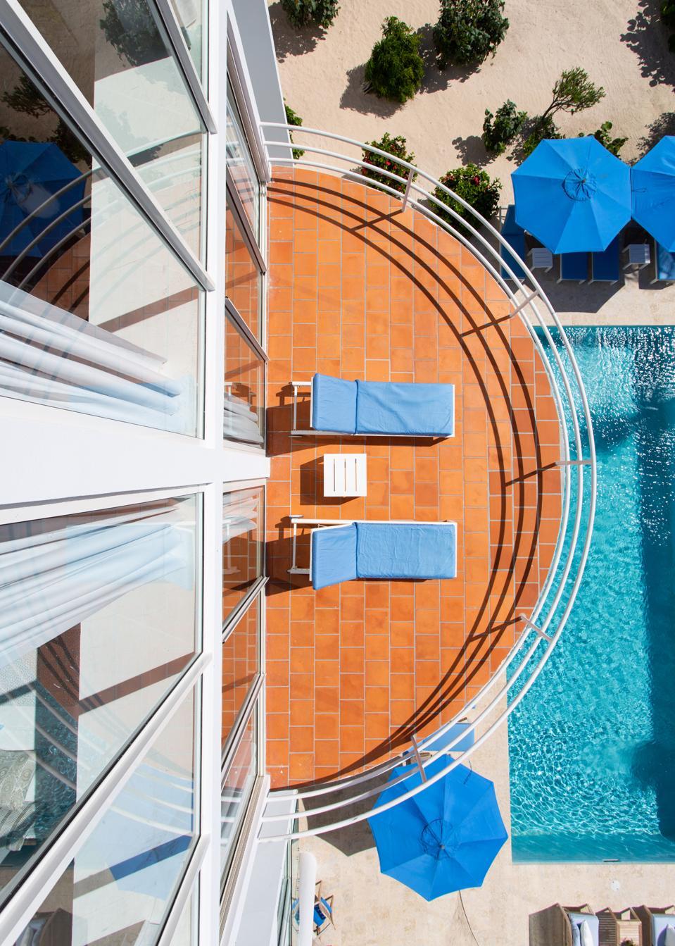 Balcony overlooking pool at Anguilla villa