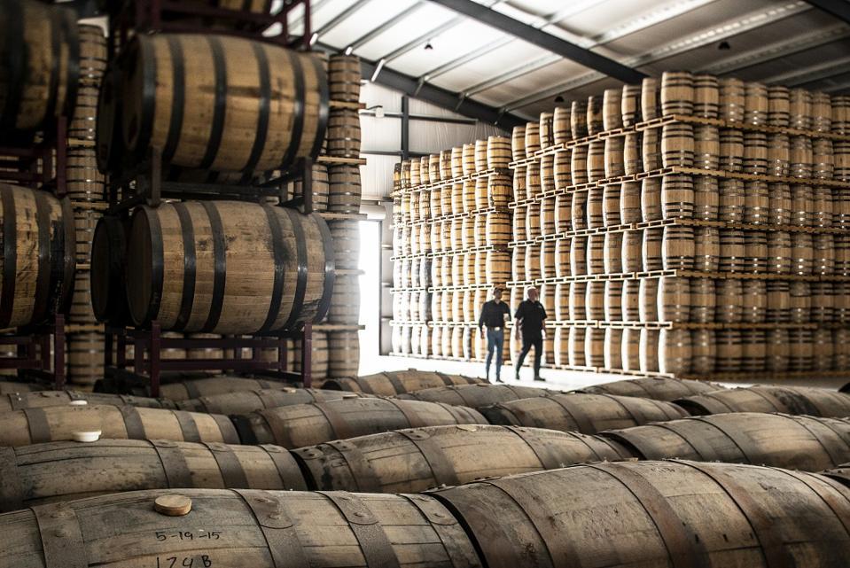 a warehouse of barrels at Frey Ranch