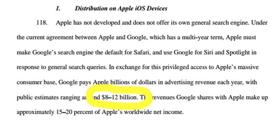 The U.S. government filing against Google says it pays Apple a reported $8-12 billion annually to be the default search provider.