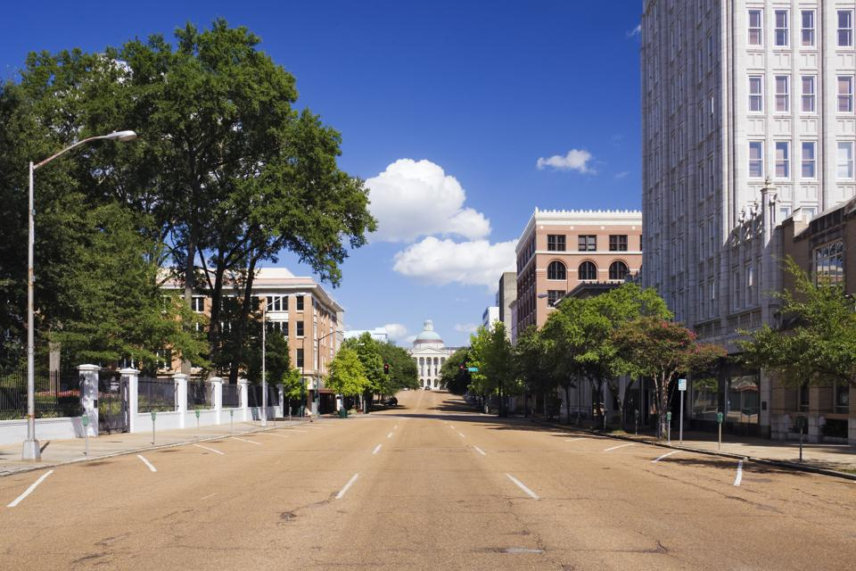 Empty street to Mississippi State Capitol, Jackson, Mississippi, United States