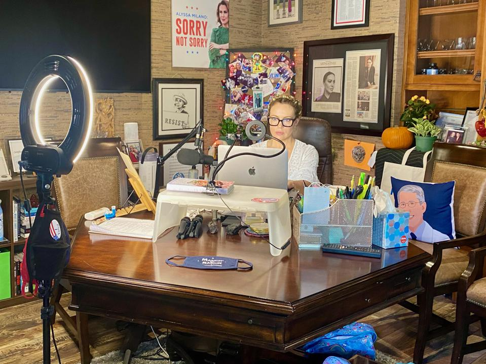 Alyssa Milano in her home office getting ready for a political event over Zoom.