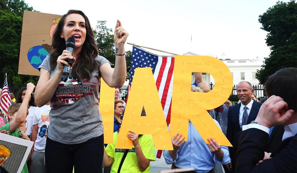 Alyssa Milano speaking out at a rally in Washington, DC in 2017.