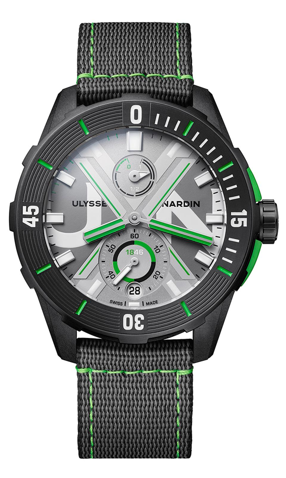 The Ulysse Nardin Diver Net Concept watch is made of recycled plastic made from abandoned fishing nets.