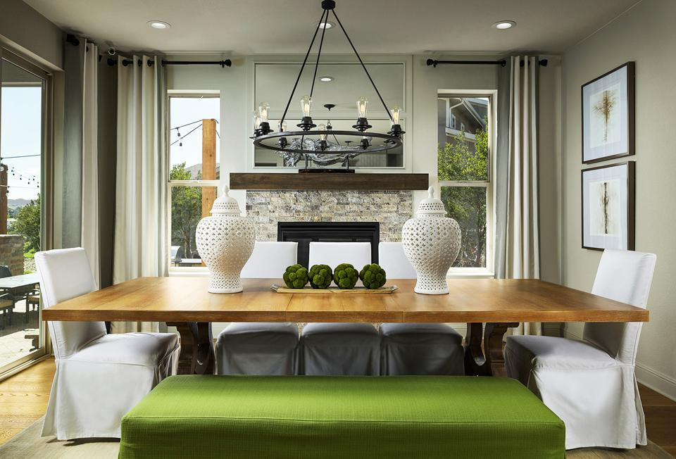 Dining room with green bench