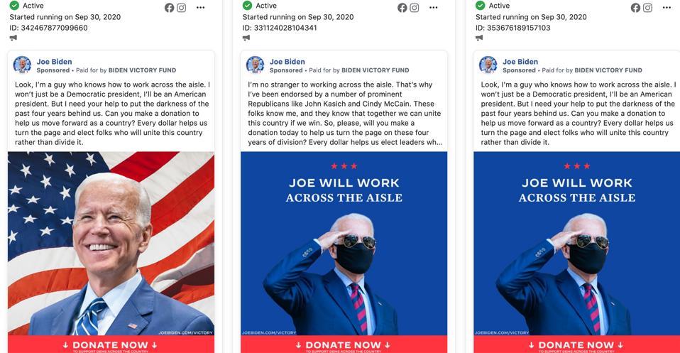 Anuncios de Facebook creados por la página de Facebook de Joe Biden, como se muestra en la Biblioteca de anuncios de Facebook.