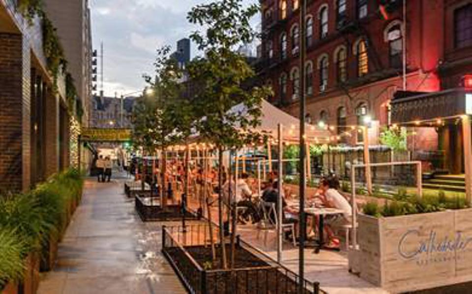 Cathédrale's curbside outdoor dining at Moxy East Village
